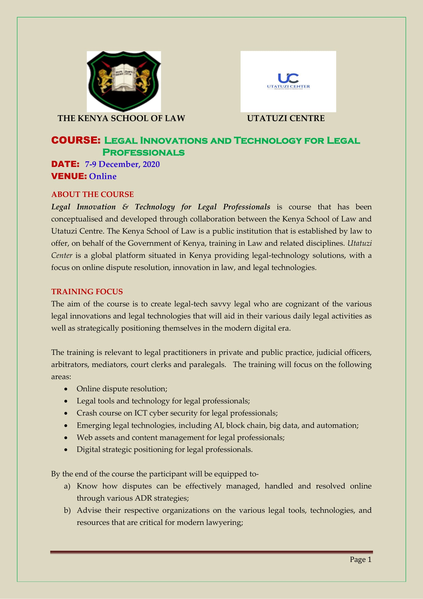 Utatuzi Center Partners With The Kenya School Of Law To Offer Legal Innovations And Legal Technology Training